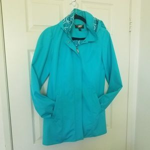 Dennis Basso Beautiful Teal Jacket w Hoodie fitted